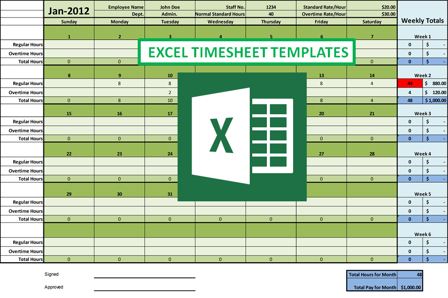 excel timesheet templates green